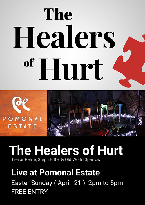 Poster - Live music Pomonal Estate - Healers of Hurt 21/04/2019