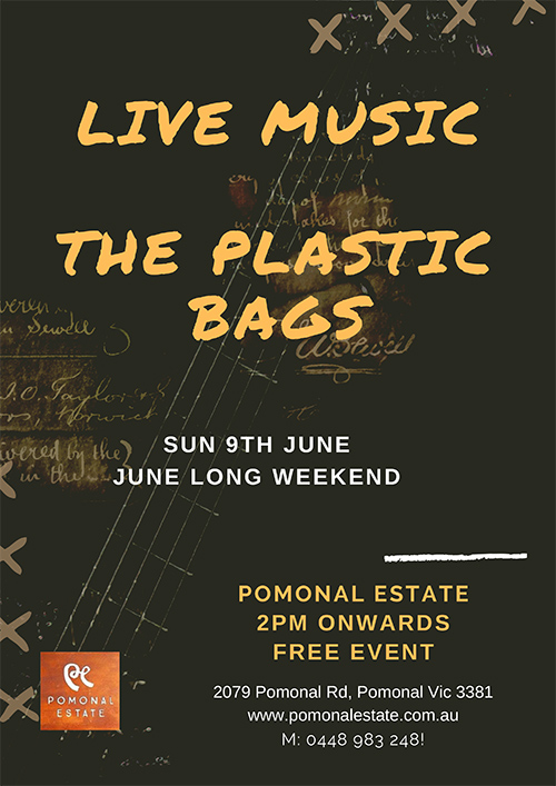 Poster - Live music Pomonal Estate - the Plastic Bags9 /06/2019