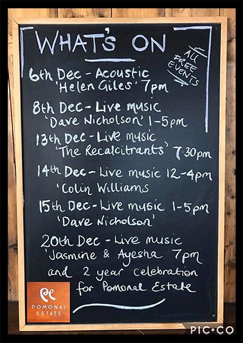 Pomonal Estate December gigs poster